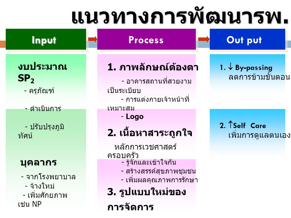 แนวทางการพัฒนารพ.สต. Out put Input Process - ดำเนินการ