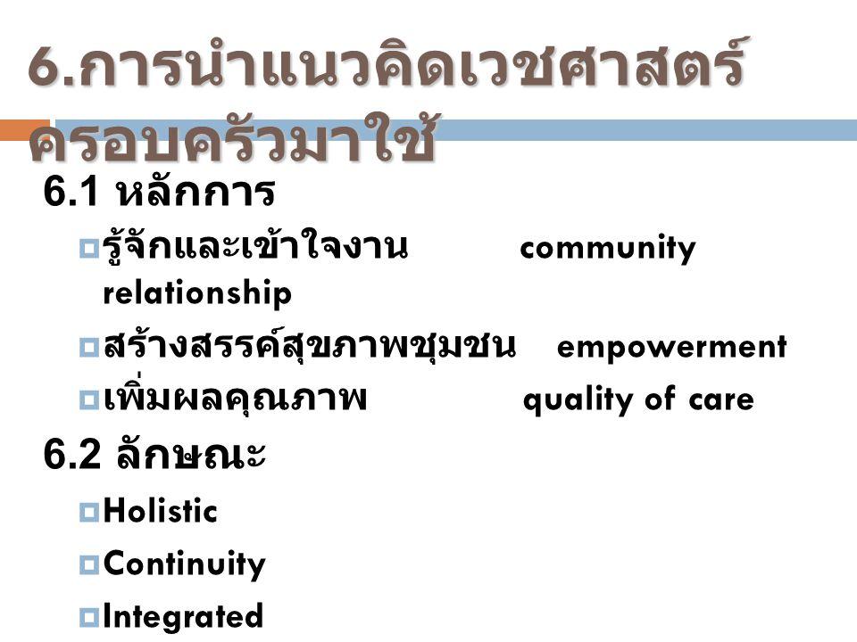6.การนำแนวคิดเวชศาสตร์ครอบครัวมาใช้