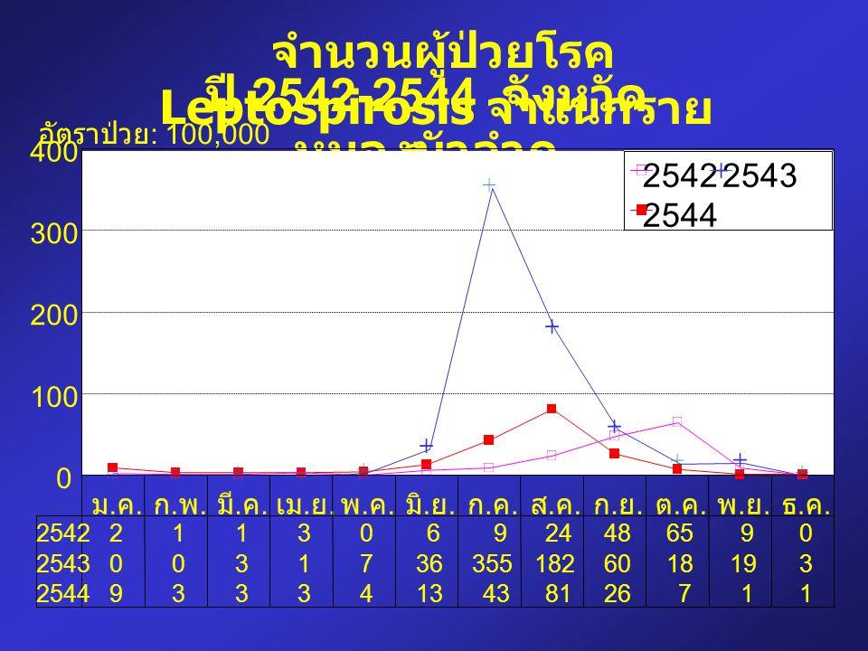 จำนวนผู้ป่วยโรค Leptospirosis จำแนกรายเดือน