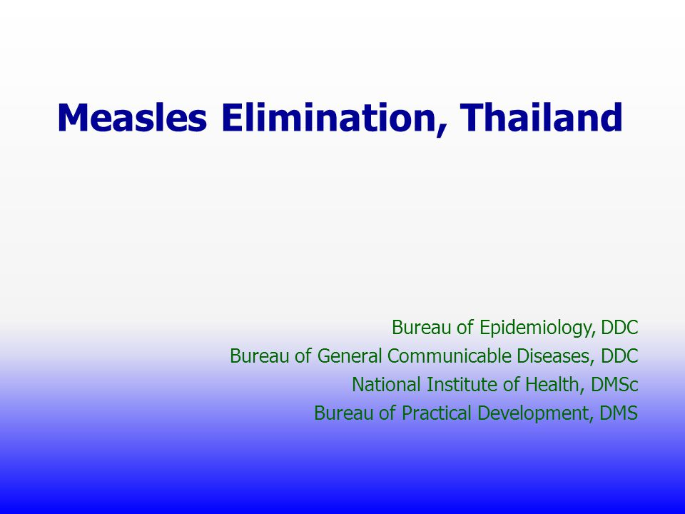 Measles Elimination, Thailand