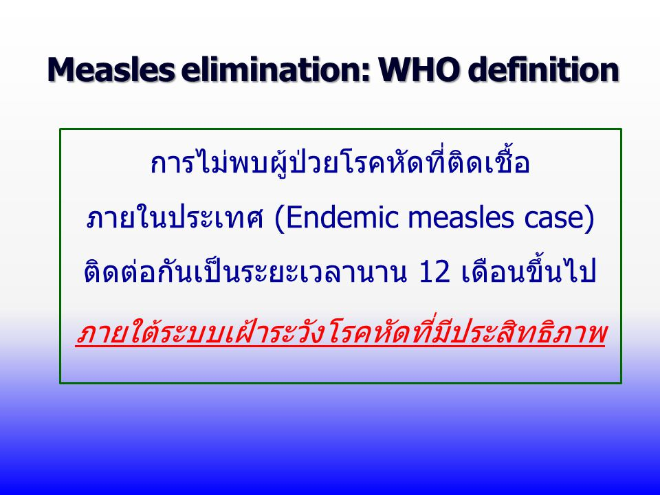 Measles elimination: WHO definition