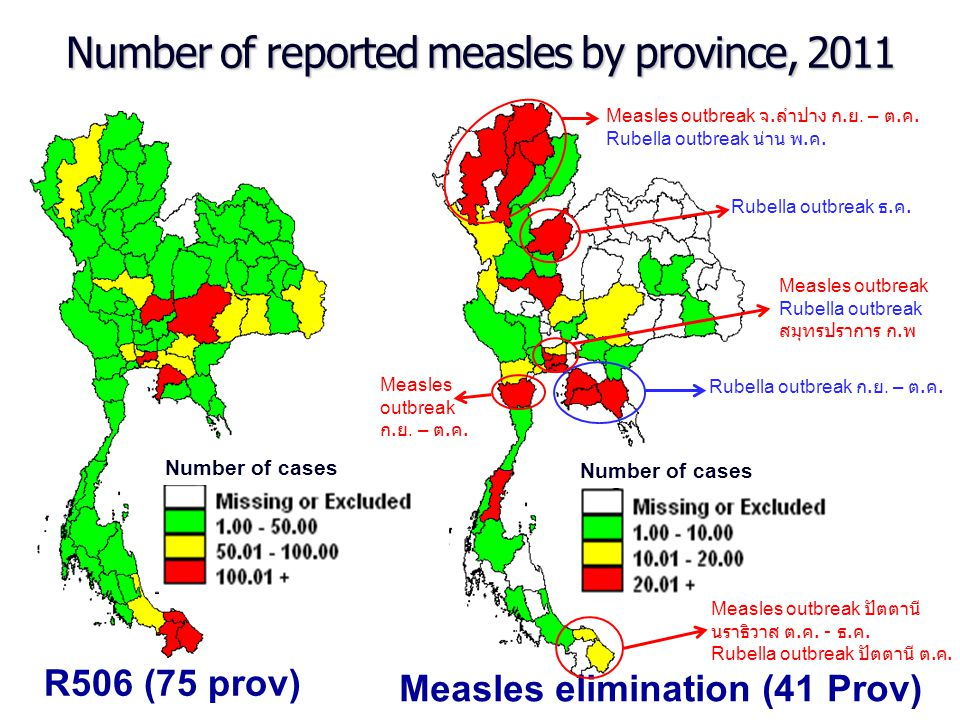 Number of reported measles by province, 2011
