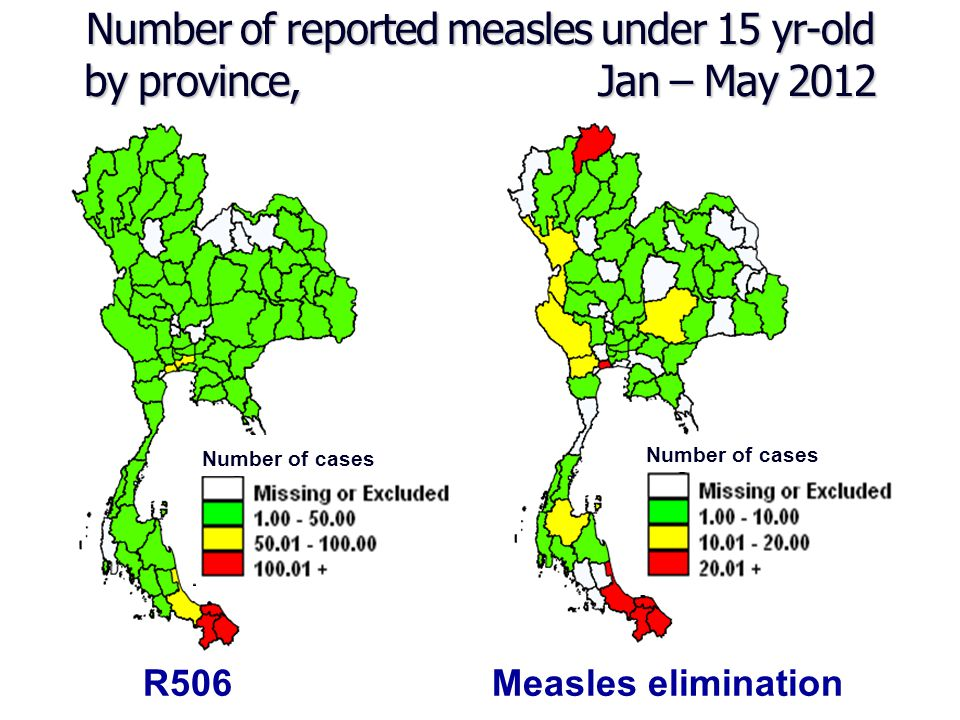 Number of reported measles under 15 yr-old by province, Jan – May 2012