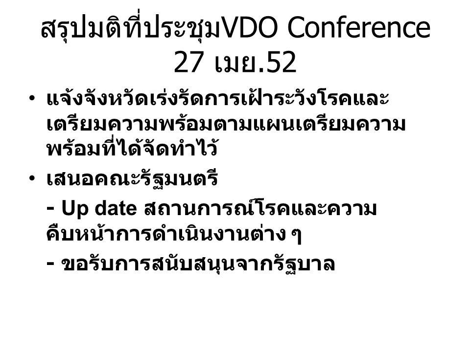 สรุปมติที่ประชุมVDO Conference 27 เมย.52