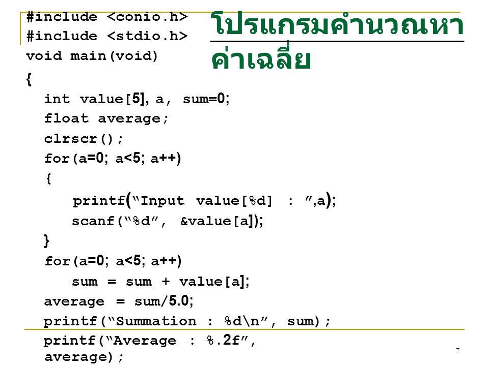 โปรแกรมคำนวณหาค่าเฉลี่ย