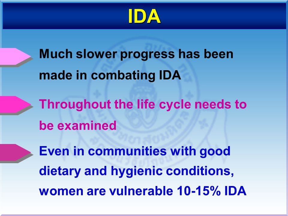IDA Much slower progress has been made in combating IDA