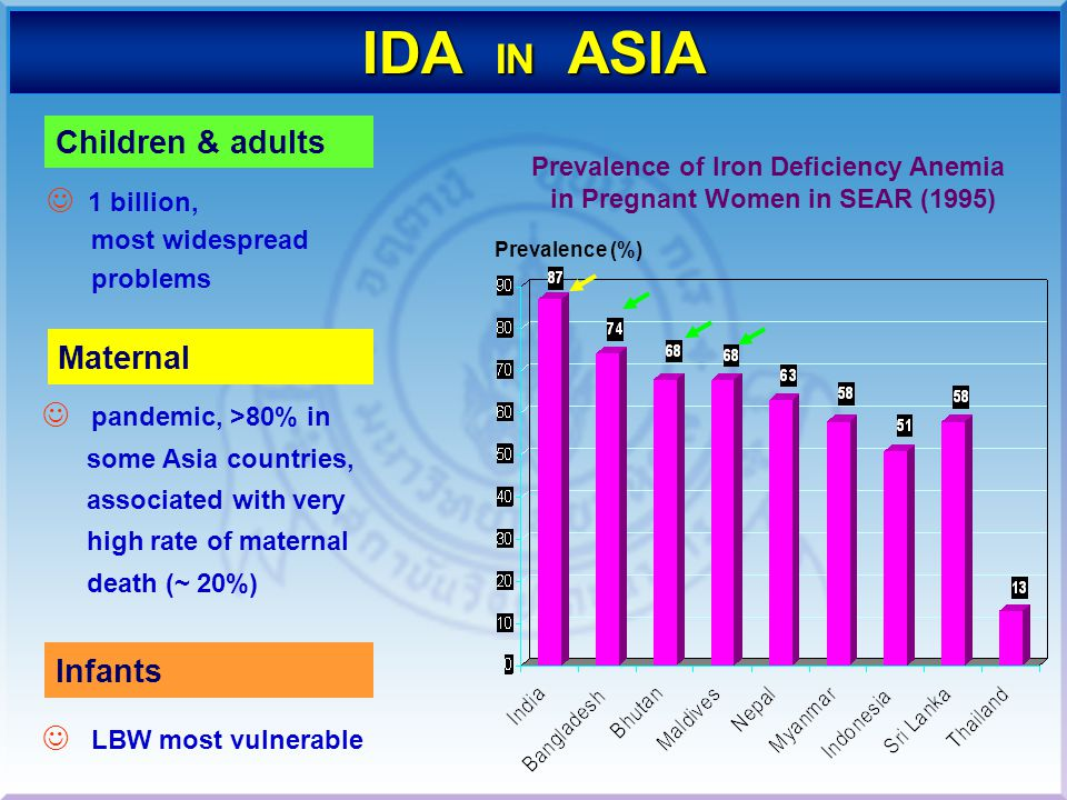 Prevalence of Iron Deficiency Anemia in Pregnant Women in SEAR (1995)