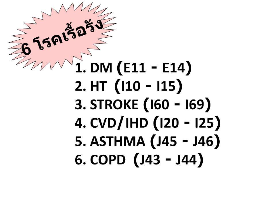 6 โรคเรื้อรัง 1. DM (E11 - E14) 2. HT (I10 - I15)