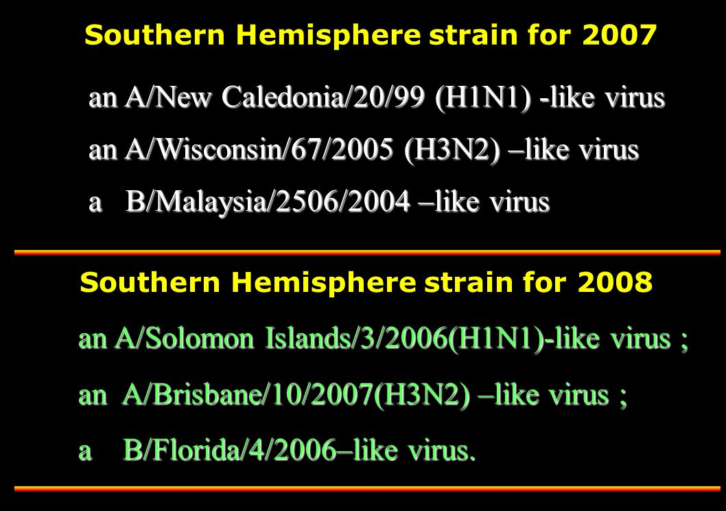 Southern Hemisphere strain for 2008