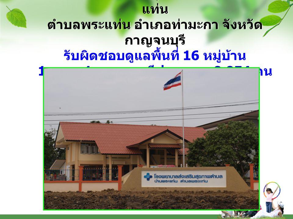 โรงพยาบาลส่งเสริมสุขภาพตำบลบ้านพระแท่น ตำบลพระแท่น อำเภอท่ามะกา จังหวัดกาญจนบุรี รับผิดชอบดูแลพื้นที่ 16 หมู่บ้าน 1 อบต.
