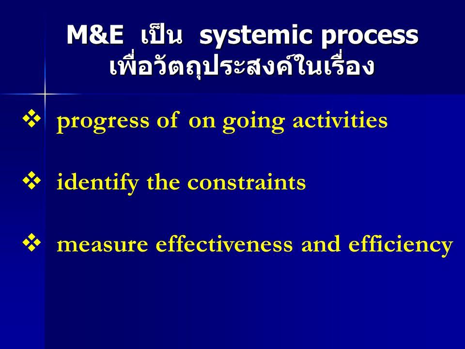 M&E เป็น systemic process เพื่อวัตถุประสงค์ในเรื่อง