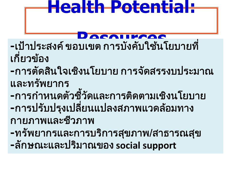 Health Potential: Resources