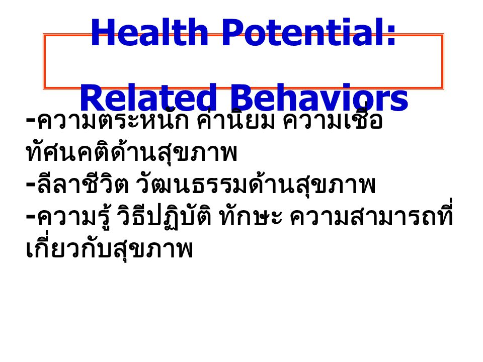 Health Potential: Related Behaviors