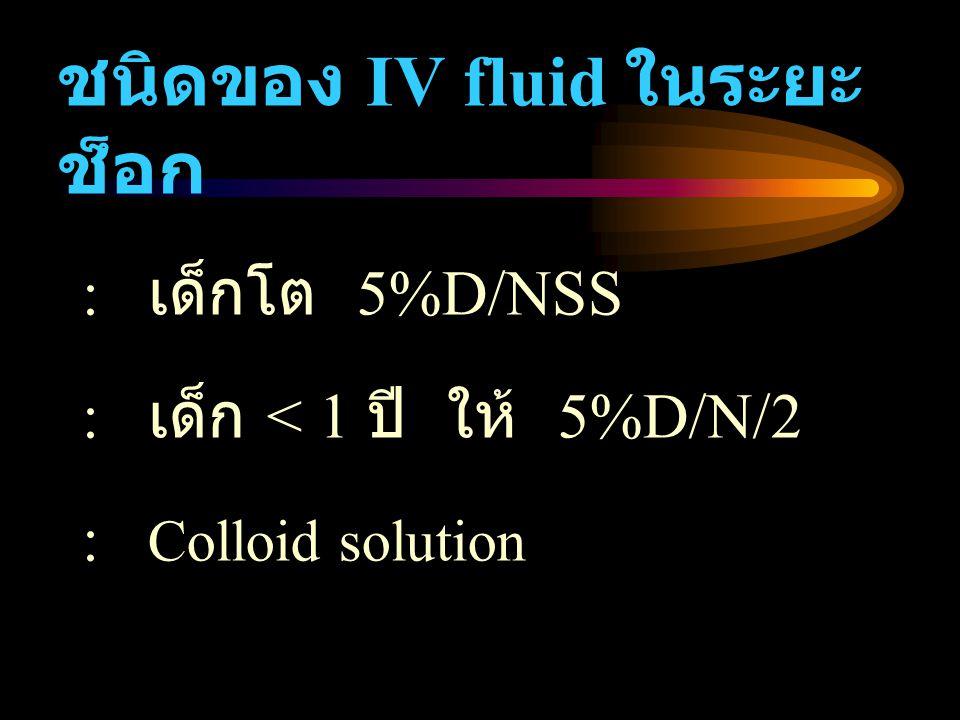 ชนิดของ IV fluid ในระยะช็อก