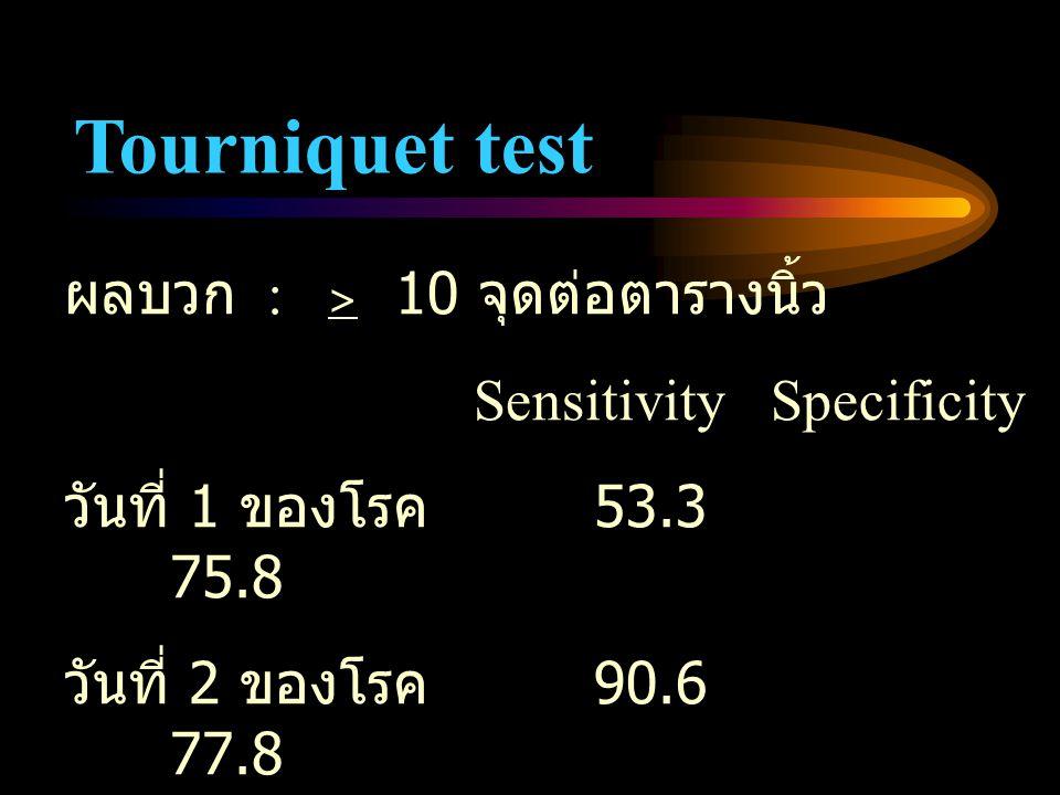 Tourniquet test ผลบวก : > 10 จุดต่อตารางนิ้ว