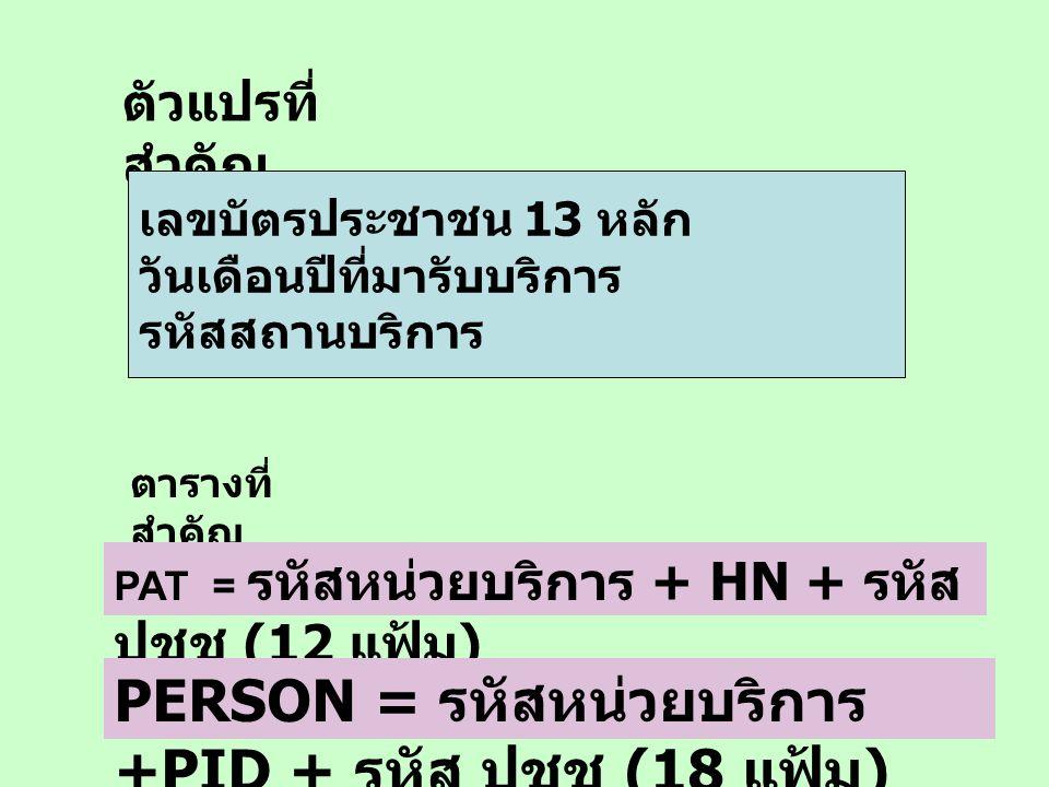 PERSON = รหัสหน่วยบริการ +PID + รหัส ปชช (18 แฟ้ม)