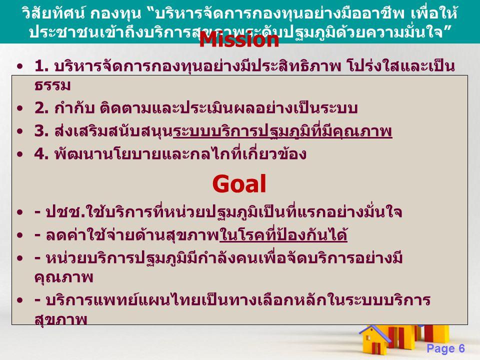 เป้าหมายเชิงปริมาณ Goal Mission