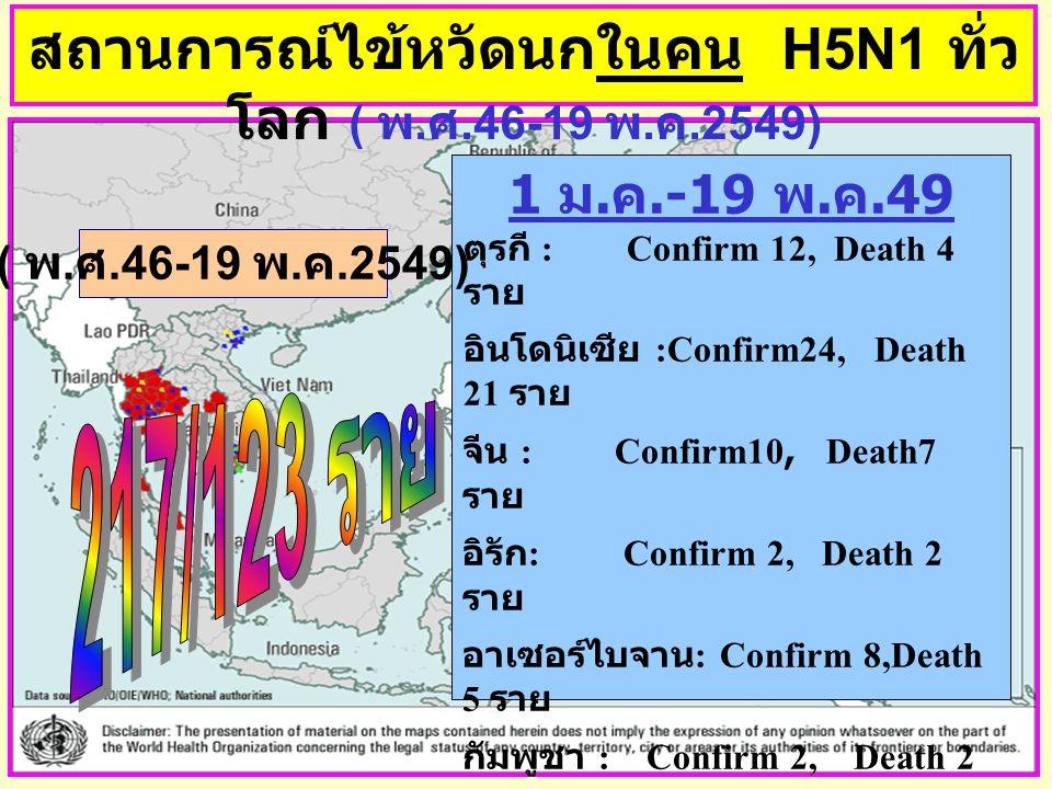 สถานการณ์ไข้หวัดนกในคน H5N1 ทั่วโลก ( พ.ศ.46-19 พ.ค.2549)