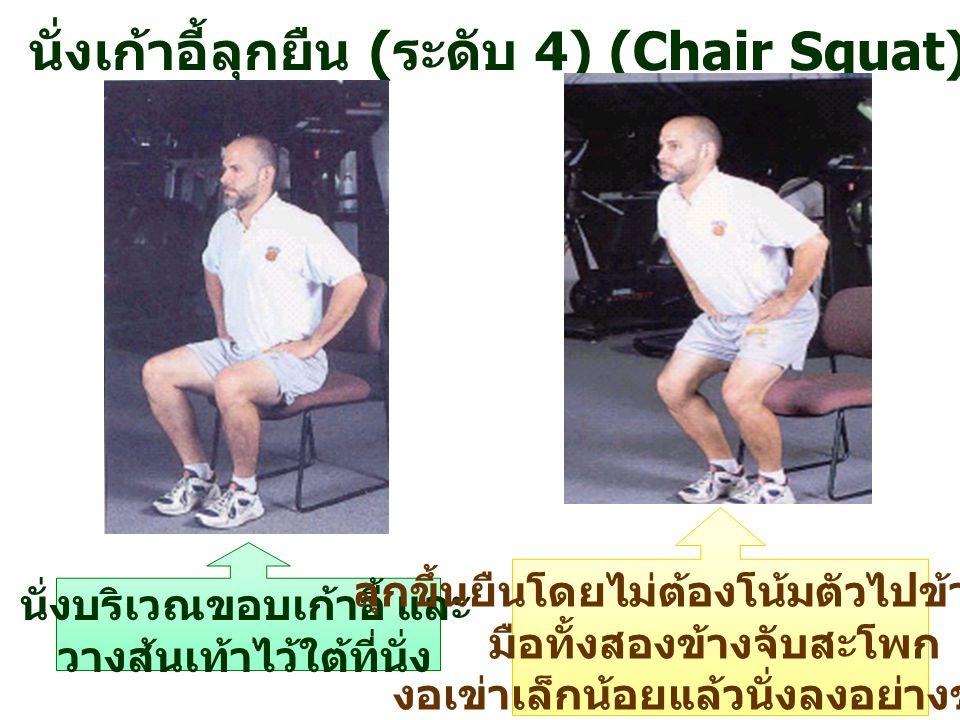 นั่งเก้าอี้ลุกยืน (ระดับ 4) (Chair Squat)