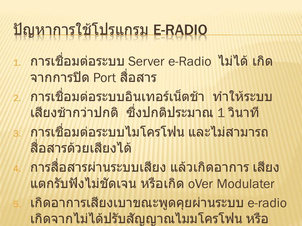 ปัญหาการใช้โปรแกรม e-radio