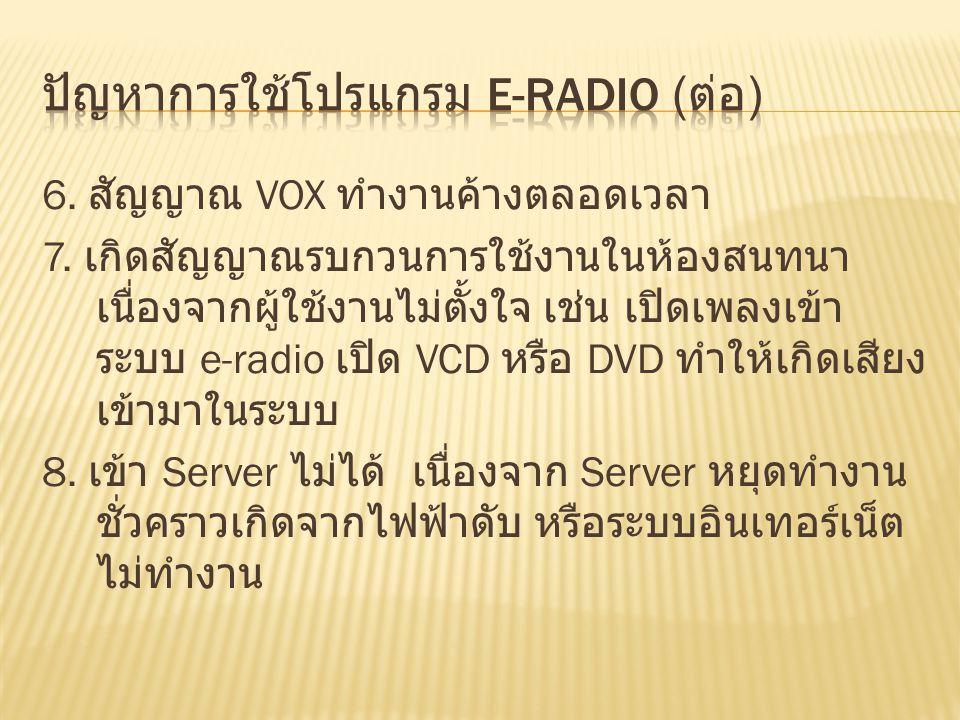 ปัญหาการใช้โปรแกรม e-radio (ต่อ)