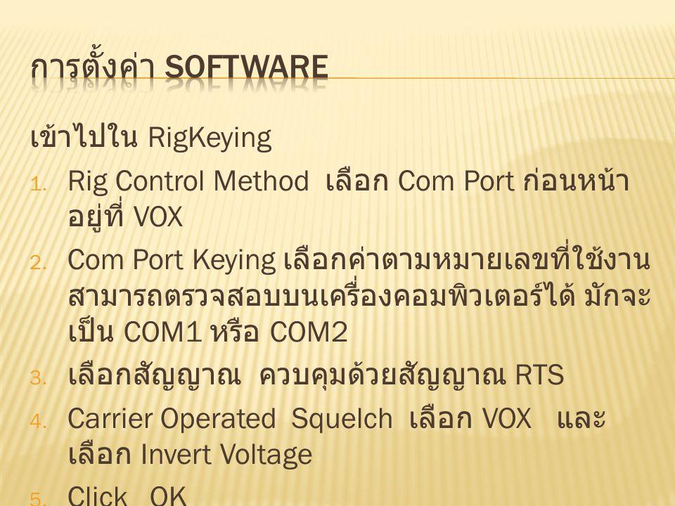 การตั้งค่า SoftWare เข้าไปใน RigKeying