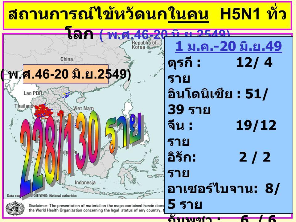 สถานการณ์ไข้หวัดนกในคน H5N1 ทั่วโลก ( พ.ศ.46-20 มิ.ย.2549)