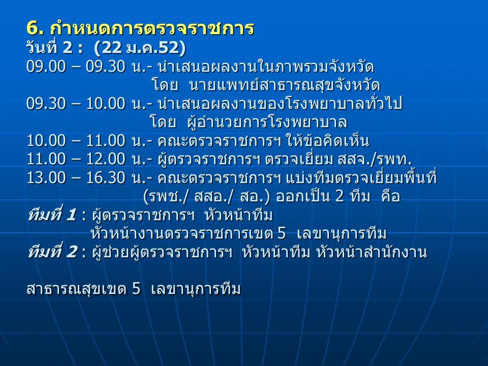 6. กำหนดการตรวจราชการ วันที่ 2 : (22 ม. ค. 52) 09. 00 – 09. 30 น