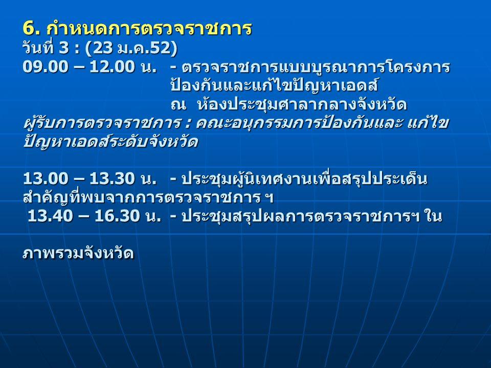 6. กำหนดการตรวจราชการ วันที่ 3 : (23 ม. ค. 52) 09. 00 – 12. 00 น