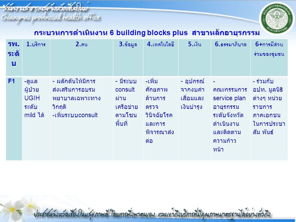 กระบวนการดำเนินงาน 6 building blocks plus สาขาหลักอายุรกรรม รพ.ระดับ