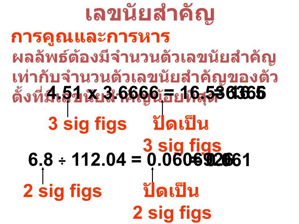 เลขนัยสำคัญ การคูณและการหาร 4.51 x 3.6666 = 16.536366 = 16.5