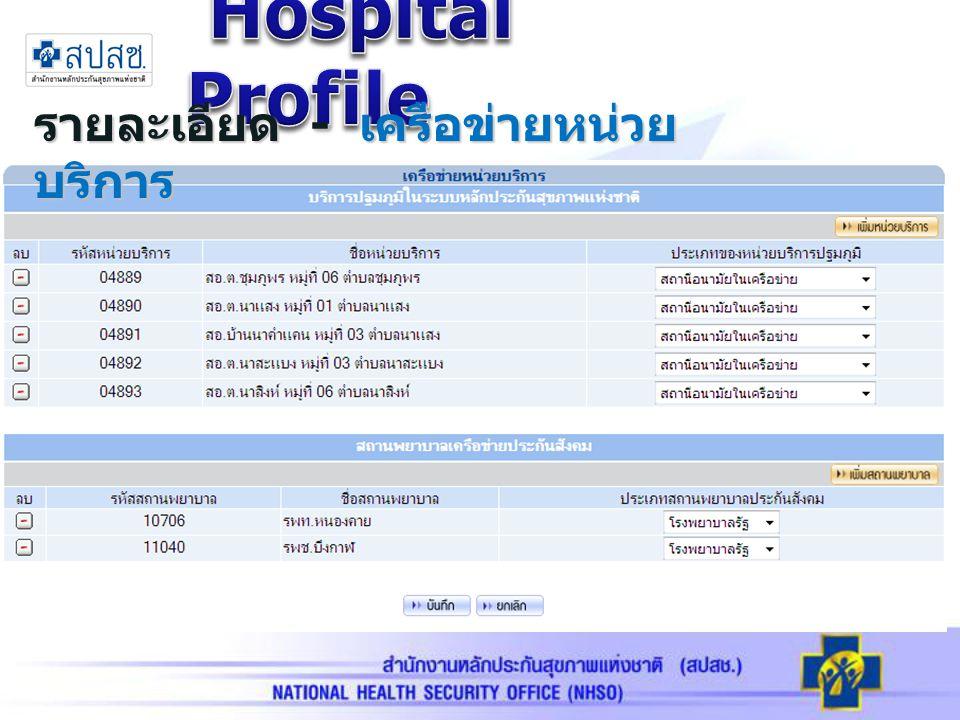 Hospital Profile รายละเอียด - เครือข่ายหน่วยบริการ