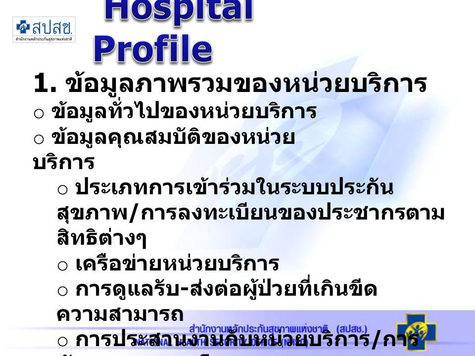Hospital Profile 1. ข้อมูลภาพรวมของหน่วยบริการ