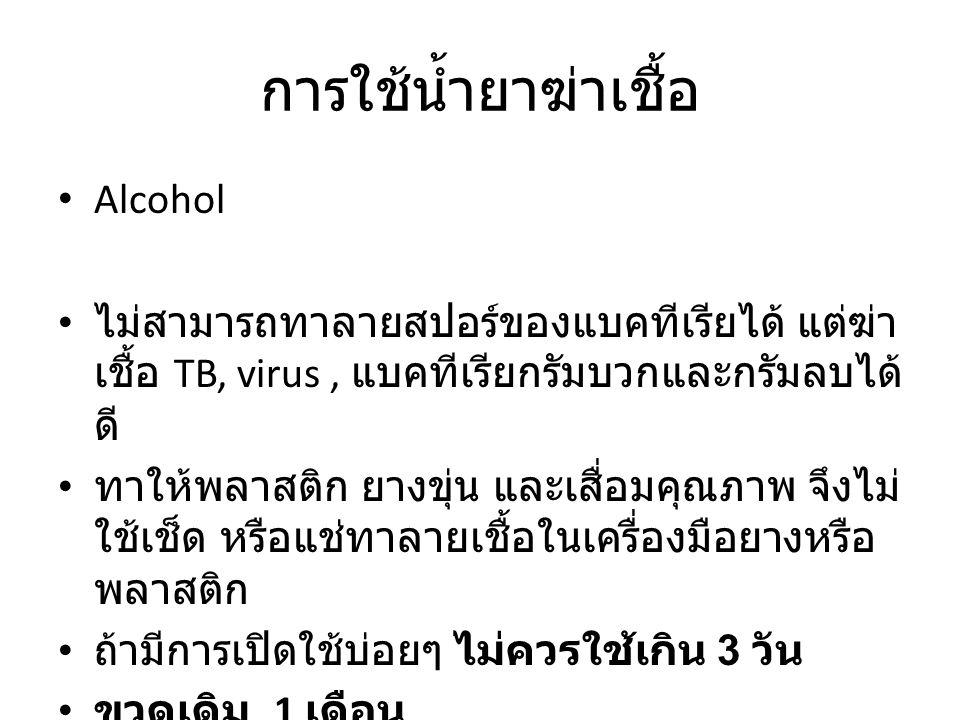 การใช้น้ำยาฆ่าเชื้อ Alcohol