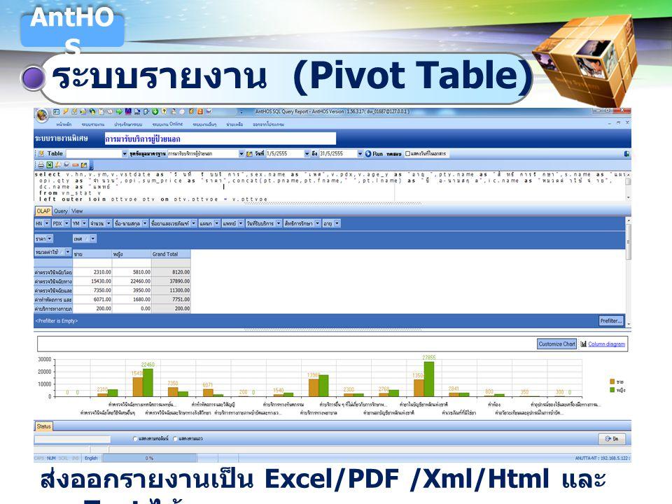 ระบบรายงาน (Pivot Table)