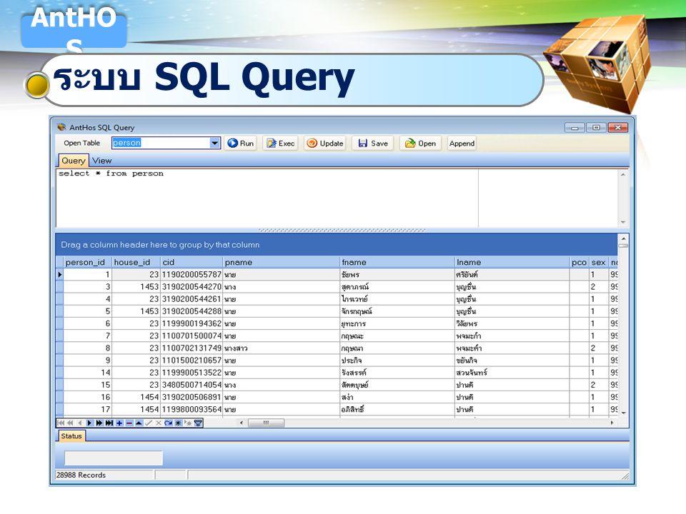 AntHOS ระบบ SQL Query