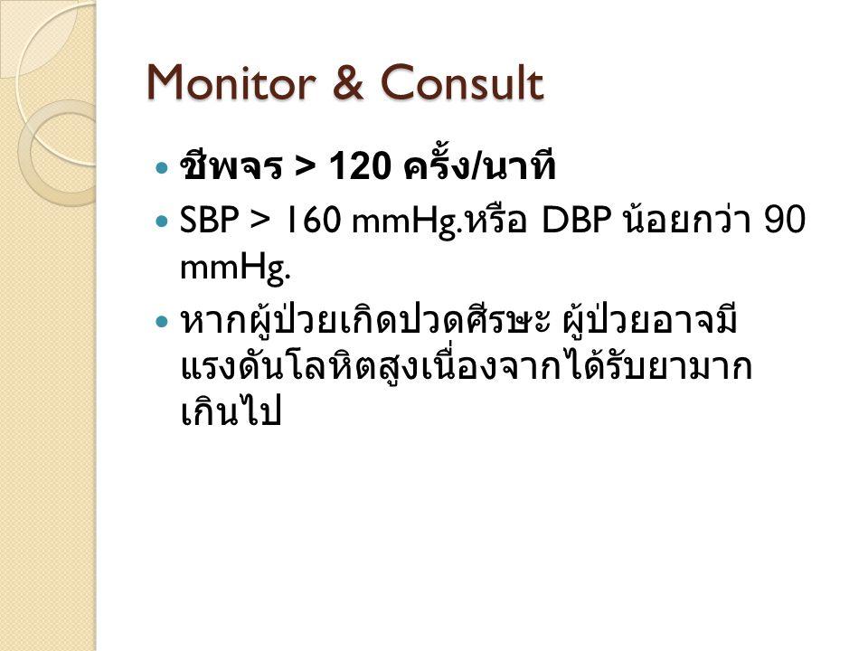 Monitor & Consult ชีพจร > 120 ครั้ง/นาที