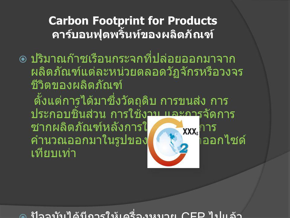 Carbon Footprint for Products คาร์บอนฟุตพริ้นท์ของผลิตภัณฑ์