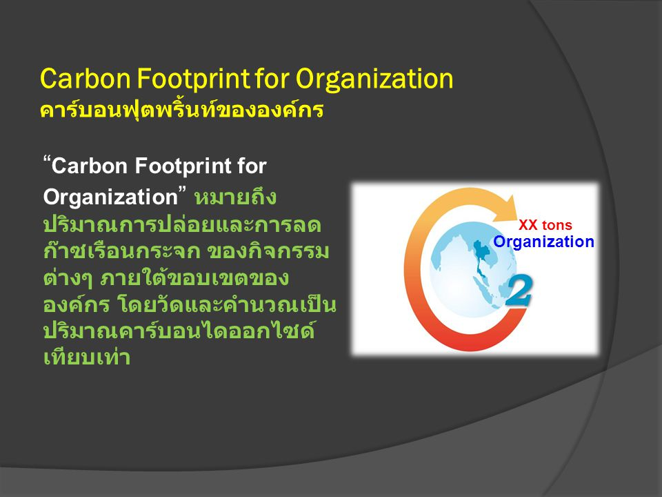 Carbon Footprint for Organization คาร์บอนฟุตพริ้นท์ขององค์กร