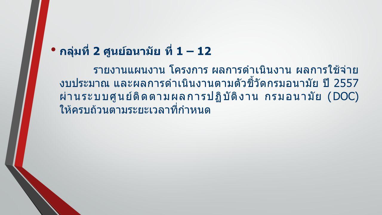 กลุ่มที่ 2 ศูนย์อนามัย ที่ 1 – 12