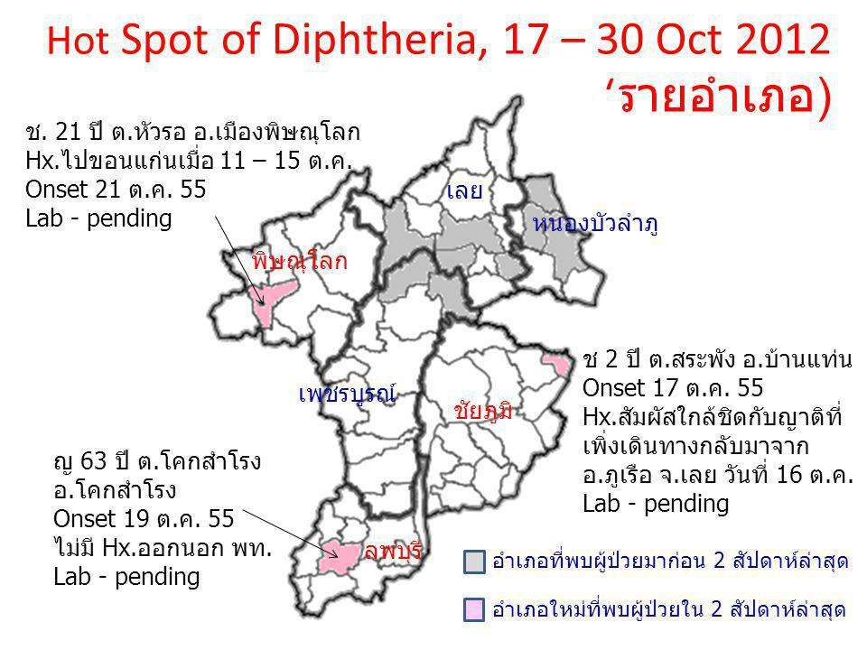 Hot Spot of Diphtheria, 17 – 30 Oct 2012 (รายอำเภอ)