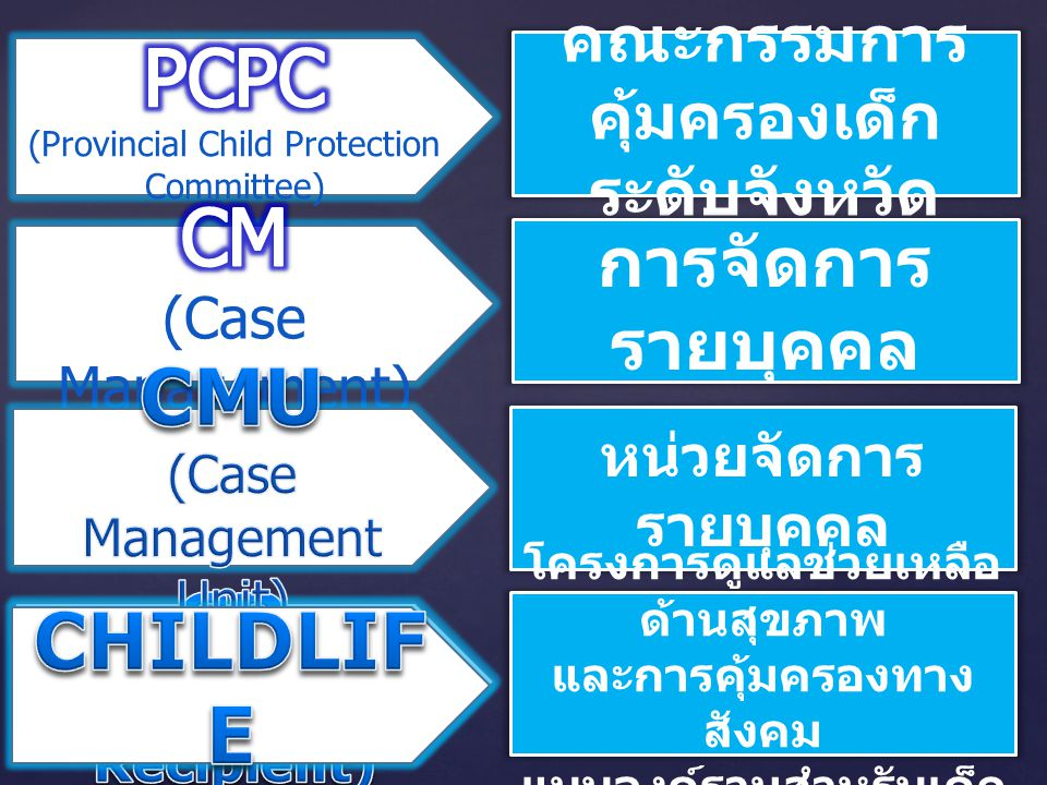 PCPC CM CMU SR CHILDLIFE การจัดการรายบุคคล