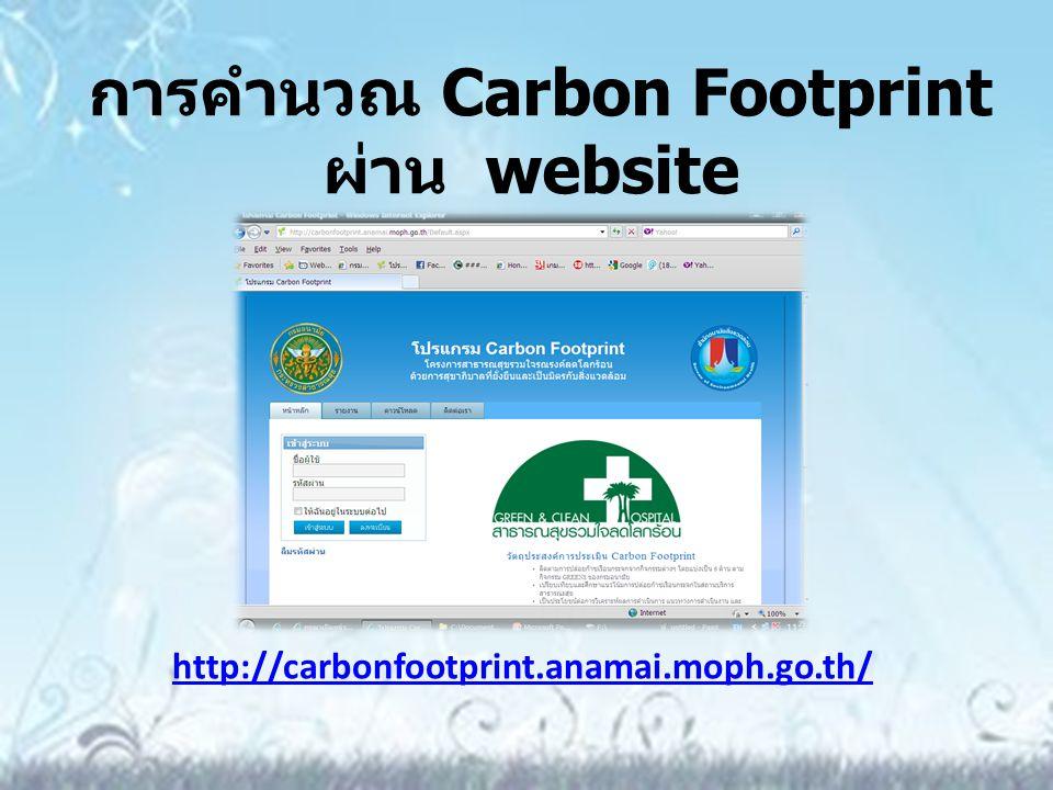 การคำนวณ Carbon Footprint ผ่าน website
