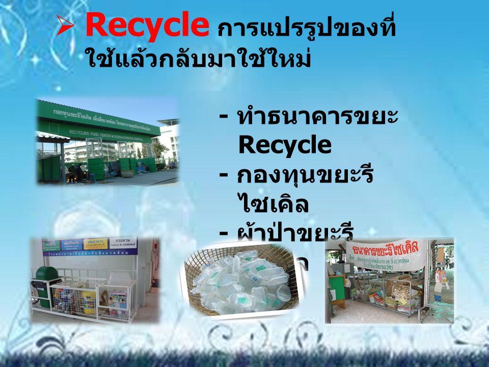 Recycle การแปรรูปของที่ใช้แล้วกลับมาใช้ใหม่