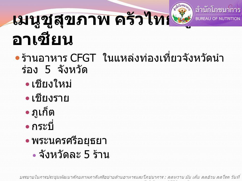 เมนูชูสุขภาพ ครัวไทย สู่อาเซียน