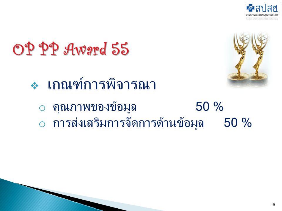 OP PP Award 55 เกณฑ์การพิจารณา คุณภาพของข้อมูล 50 %