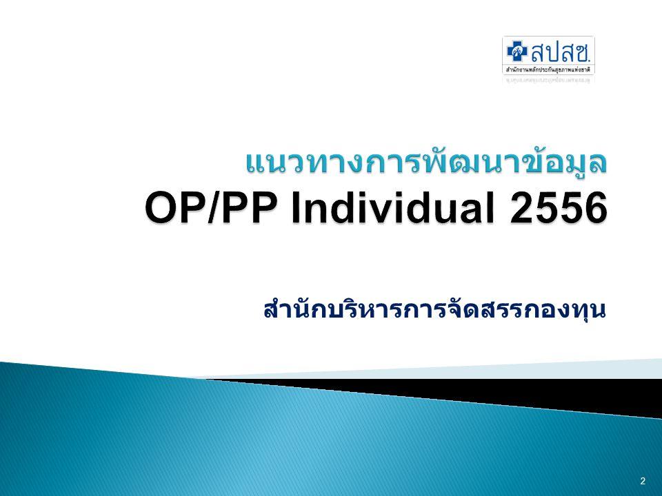 แนวทางการพัฒนาข้อมูล OP/PP Individual 2556