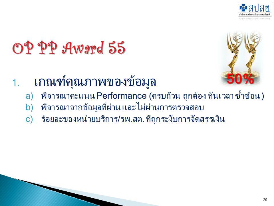 OP PP Award 55 50% เกณฑ์คุณภาพของข้อมูล