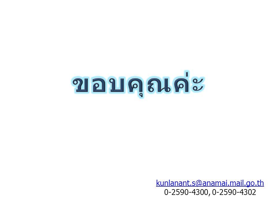 ขอบคุณค่ะ kunlanant.s@anamai.mail.go.th 0-2590-4300, 0-2590-4302