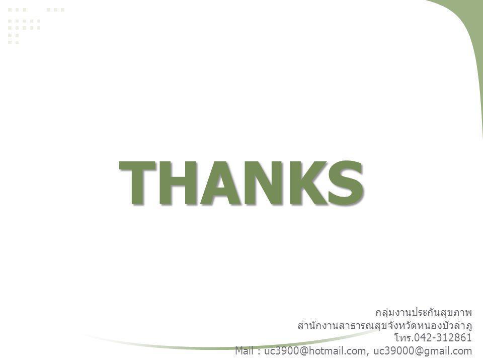 THANKS กลุ่มงานประกันสุขภาพ สำนักงานสาธารณสุขจังหวัดหนองบัวลำภู